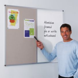 Aluminium framed combi noticeboard whiteboard