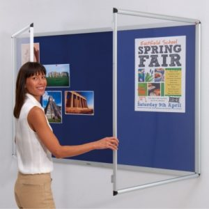 Double Doors Shield Design Tamperproof Noticeboard